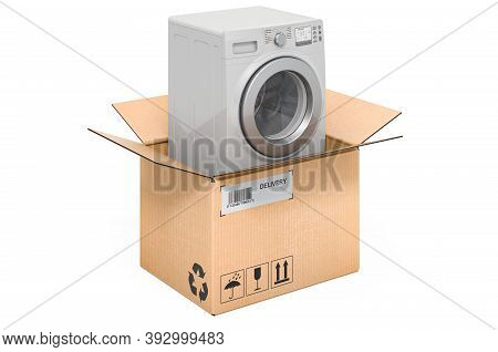 Washing Machine Inside Cardboard Box, Delivery Concept. 3d Rendering Isolated On White Background