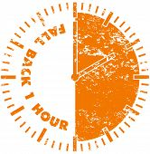 Fall back daylight savings time rubber stamp poster