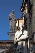 Photo of the statue of Dante Alighieri in Piazza dei Signori in Verona poster