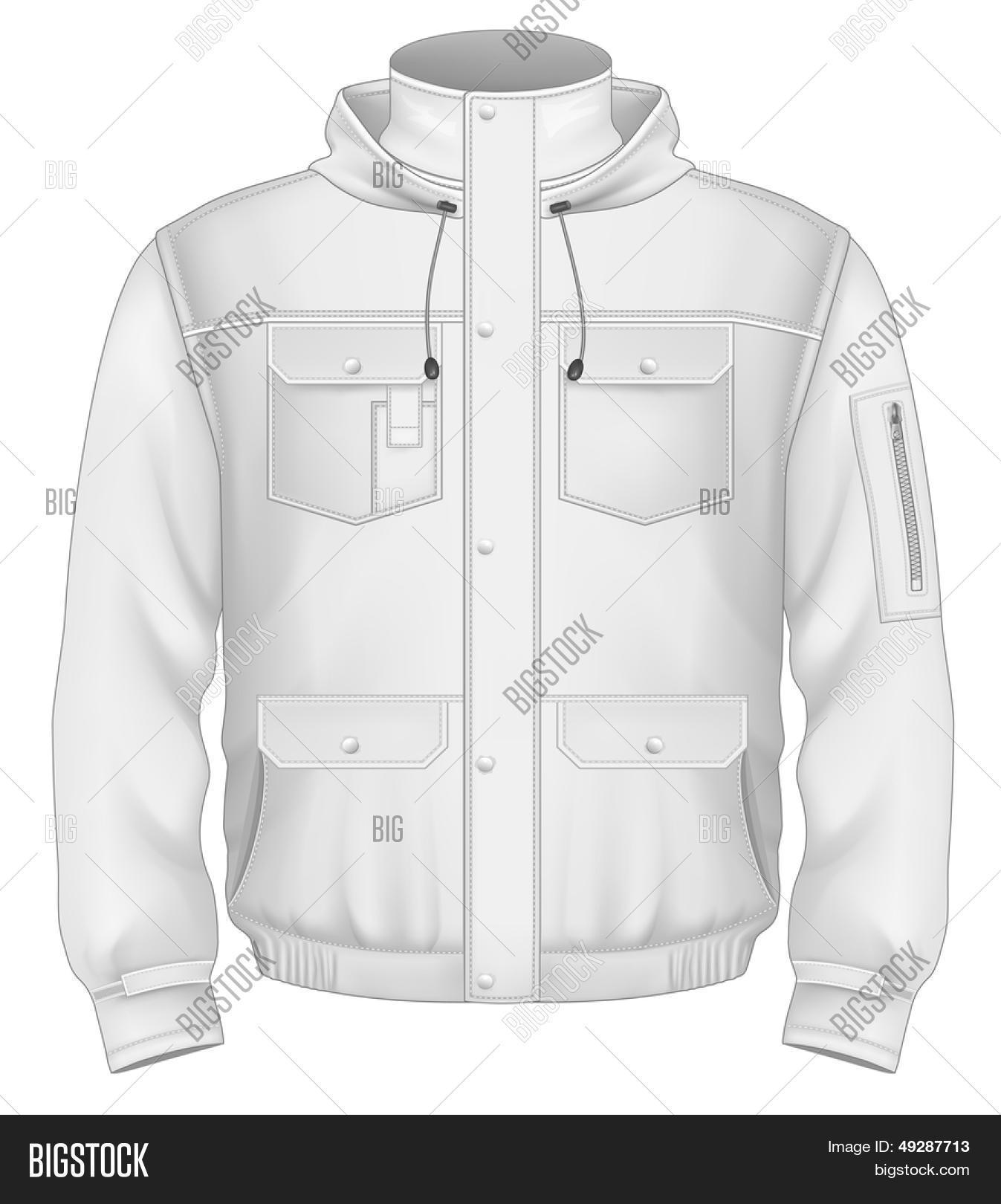 Photo Realistic Vector Illustration Mens Hooded Flight Jacket Design Template Front View