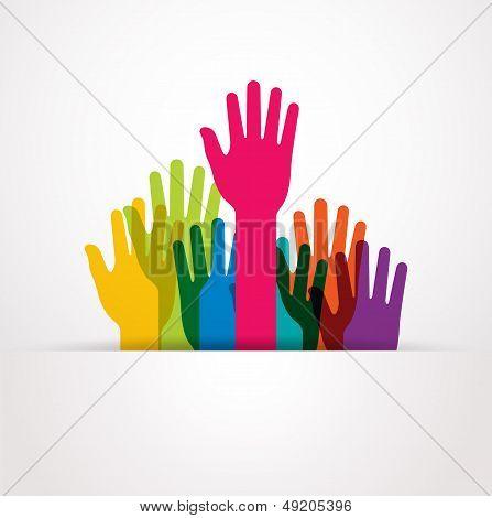 vector colored raised hands presentation