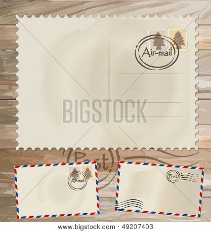Vector set: Vintage postcard designs, envelope and postage stamps.
