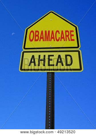 obamacare ahead conceptual directional post over blue sky