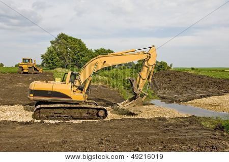Excavator & Bulldozer On Job Site