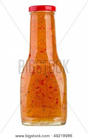 Bottle of sweet asian chilli sauce