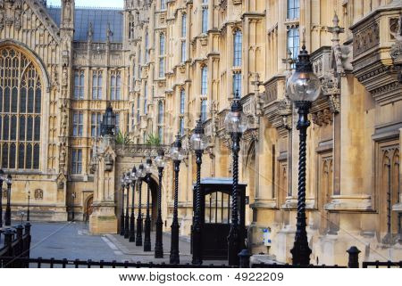 Lamps Posts In Front Of House Of Parliament, Westminster, London
