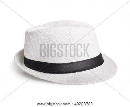 White Wicker Hat For The Summer On An Isolated Background