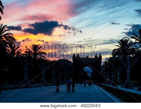 Triumphal arch (Arc de Triomf) at night, Barcelona, Spain  poster
