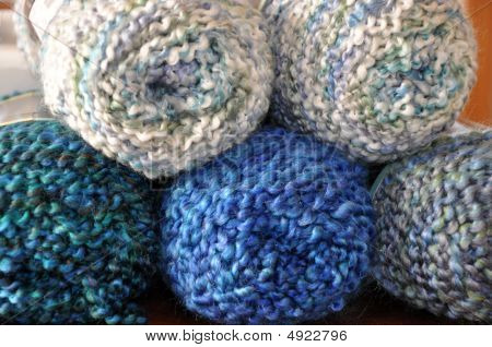Yarn Skeins In Blue Hues