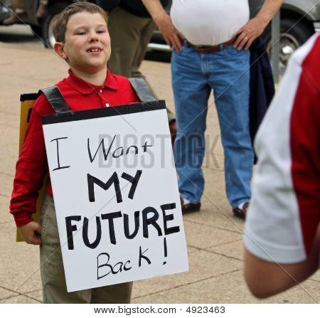 Dallas Tea Party Kid W Sign