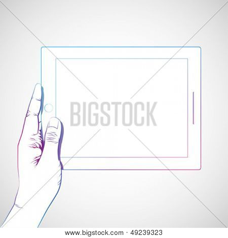 Hand holding 10 inch tablet, horizontally