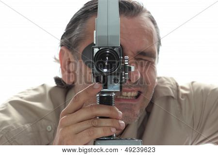Man With Old Film Camera