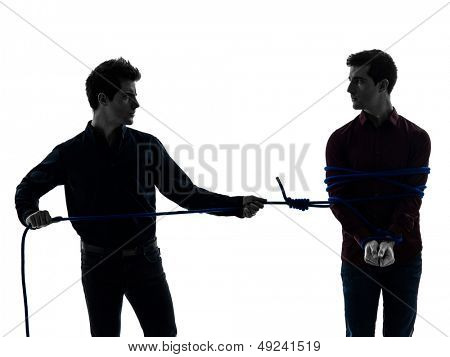 two caucasian young men in shadow white background