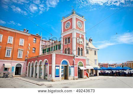 Clock tower in old town Porec. Istria peninsula, Croatia.