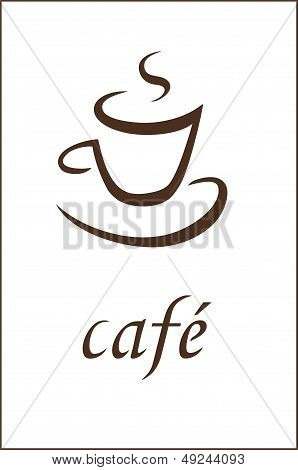 Cup of coffee - vector sign on white background
