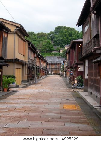 Old Geisya houses at Higashi Chaya District Kanazawa Japan. poster