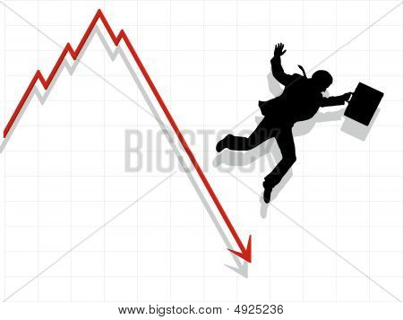 Business Man Falling Down With Economy