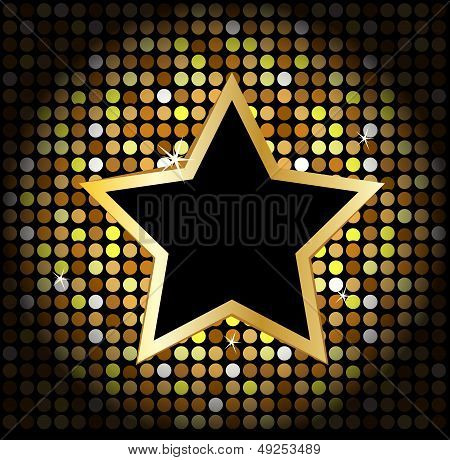 star on the golden glittering disco background poster
