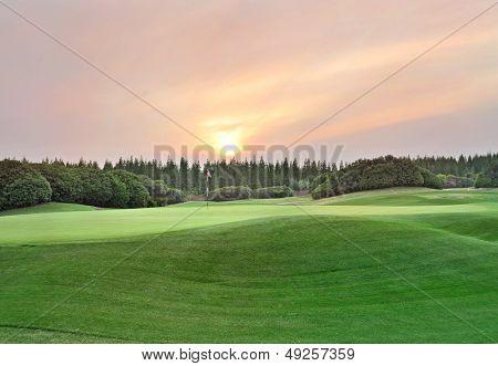 Twilight time on golf field