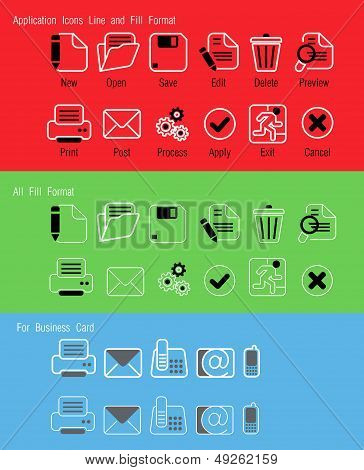 Editable Line and fill format application and business card icons poster