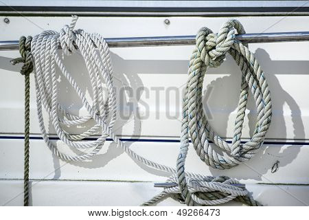 Detail Image Of Ropes And Cleats On Yacht Sailboat