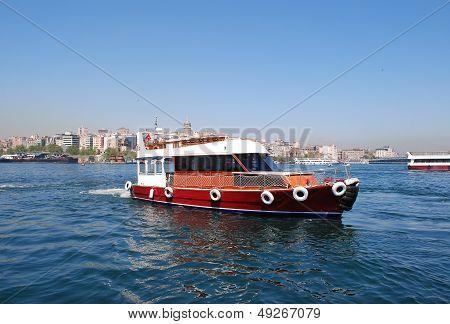 Boat on Bosporus Sea