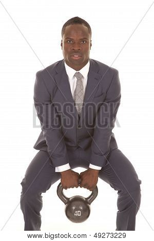 Man In Squat With Weights