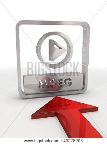 3D Render Of A Metallic Mpeg File Icon With Red Arrow