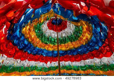 Mantra Stupa Made of prayer flags colorful poster