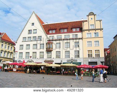 Central Town Hall Square in Tallinn, Estonia