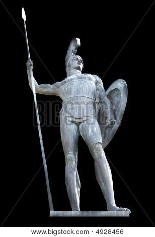 Greek mythical Achilles statue isolated
