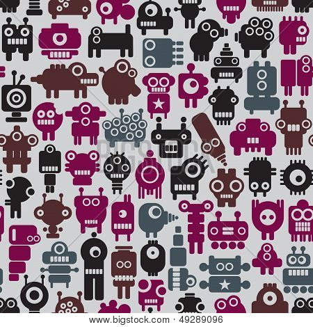 Robot seamless pattern in retro style.