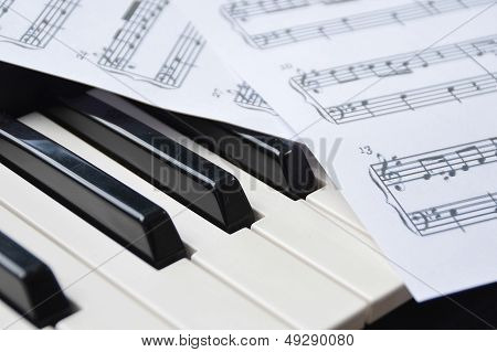 Piano Keyboard And Sheetmusic