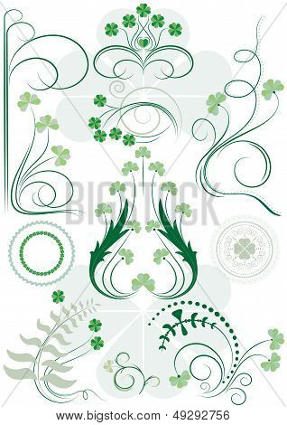 Variants patterns of leaves clovers and the curves for design poster