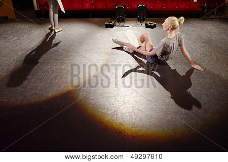 Young women on stage