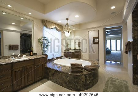 View of a modern and spacious bathroom at home