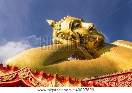 Big Reclining Buddha In Wat Mokkanlan , Chomthong Chiangmai Thailand