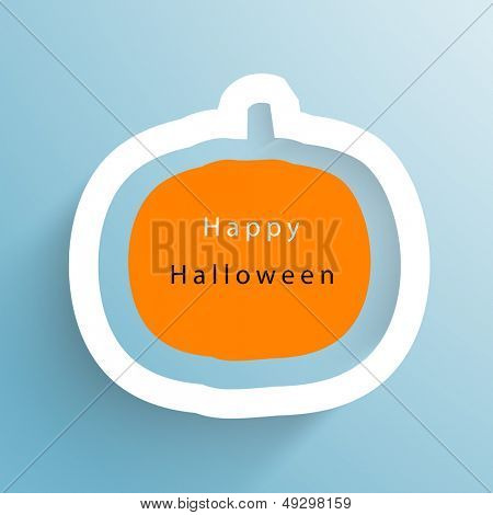 Happy Halloween concept with pumpkin design on blue background.