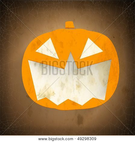 Smiling Halloween Pumpkin on vintage brown background. Can be use as poster, flyer or banner for Halloween Party.