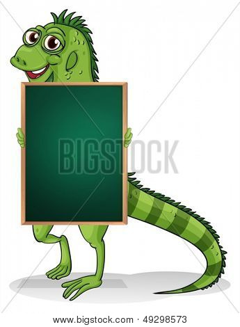 Illustration of a greenboard with an iguana at the back on a white background