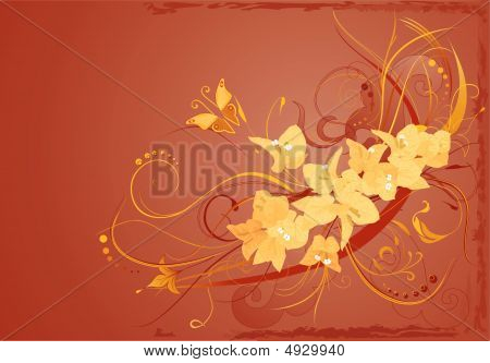 Background With Yellow Bougenvilia