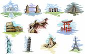 vector illustration of collection of World Famous Monument poster