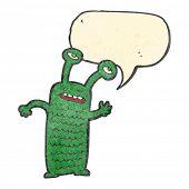 retro cartoon talking alien poster