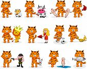 Twelve cartoon signs of the zodiac based on the year of tiger (2010). poster