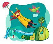 Girl flies to umbrella bird has a cloud poster
