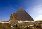 The famous ancient Egypt Cheops pyramid and sphinx in Giza poster