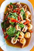 Stir basil sea squid and shrimp thai food poster
