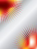Halftone design with magma-like red orange background poster