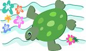 This Green Turtle swims with the retro style flowers and waves. poster
