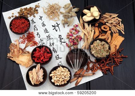 Chinese herbal medicine selection with acupuncture needles and calligraphy script on rice paper.